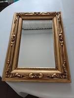 Antik fazettás csiszolt tükör faragott florentin keretben  43x58,5+8,5 cm széles keret