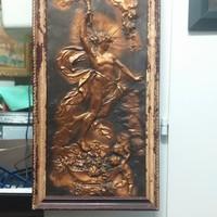 Antik Bronz Kézzel Domborított Kép.50 cm