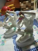 2db fésülködő női akt , porcelán eladó