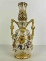 Teljes hagyaték aukción! Nagy méretű hibátlan Zsolnay váza családi jeles 1880 körül 1 Ft-ról!