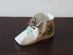 Herendi cipőcske kézzel festett zöld Apponyi mintával sérült