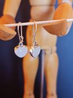 Holdkő-ezüst szív fülbevaló