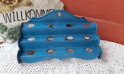 Ritka zománcos  kék fakanáltartó kanáltartó  konyhai nosztalgia darab, paraszti  falusi dekoráció