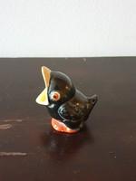 Komlós kerámia? apró fekete madár rigó gyűrűtartó figura kézzel festett jelzetlen