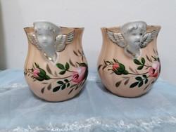 Angyalka-puttócska fejes bögre párban, antik darabok
