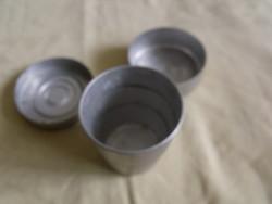 Régi kinyitható és összecsukható utazó fém pohár + doboz