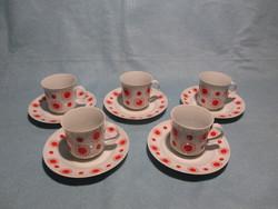 Retro Alföldi piros pöttyös, napocskás kávés csészék csészealjjal