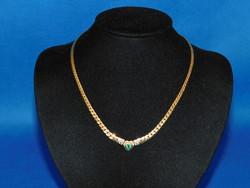 Arany 14k nöi nyakék Smaragd +brillekkel  12.4 gr