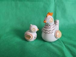 Hollóházi iparművész tyúk és kiscsibéje, első osztályú porcelánok