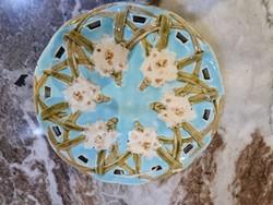 27,5cm Schütz Virágos Falitányér Tál, Kék alap
