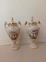 Antik capodimonte Capo di monte dúsan aranyozott sokalakos porcelán fedeles váza bal oldali
