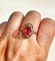 Csodás, pink köves, 14k arany gyűrű - 4,18g