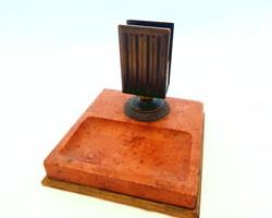 Antik szecessziós gyufa-szalvétatartó vörösmárvány talapzaton