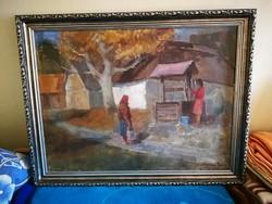 Rozs János kútnál című festménye