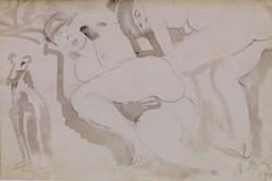 Réth Alfréd - Aktok kutyával,1908, fauvizmus, lavírozott tus (egyedi rajz), Párizs