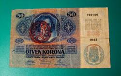 50 Korona - Bécs,1914. január 2. - Magyarország felülbélyegzéssel - sorozatszám: 1043