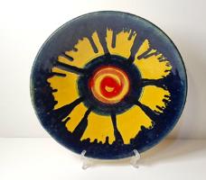 Retró, iparművészeti mázas kerámia tányér 28,2 cm.