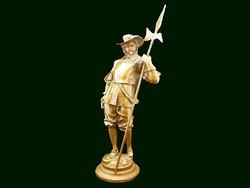 F. J. Hiorceta Francia Muskétás patinás bronz szobor