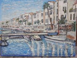 Nagyméretű Mediterrán Tengerparti Utcakép Olaj Festmény