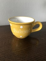 Sárga pöttyös kerámia bögre / csésze Budapest felirattal kézműves