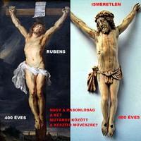 """56. Antik, """"Rubens (?)"""" 400 éves CSONT Jézus Krisztus (17cm), kereszt, korpusz. IGAZOLÁSSAL!!"""