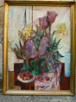 Eladó Munkácsy-díjas Túry Mária: Tavaszi csendélet című olajvászon, Képcsarnokos festménye