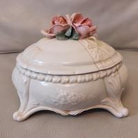 Antik bonbonier rózsa tetejű Német porcelán,nagy méretű ! Ens Volkstedt, cukortartó