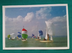 Magyarország,Balaton ,Solingok versenye,használt képeslap, 1987