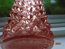 Antik kézzel csiszolt rózsaszín kristály üveg parfümös palack  csiszolt dugóval