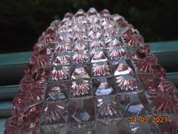 Antik kézzel csiszolt rózsaszín kristály üveg hosszú ovális pipere tálca