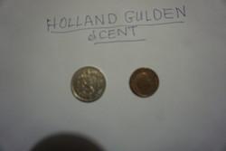 Holland gulden és cent pénzérmék egyben eladók.