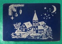 Csillámos karácsonyi levelezőlap, képeslap,használt