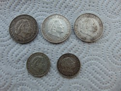 Hollandia 3 darab ezüst 2 1/2 gulden + 2 darab ezüst 1 gulden