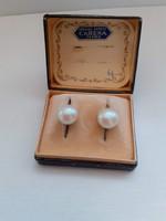Szép állapotú jelzett valódi gyöngy fülbevaló klipsz nemes acél  kapcsolóval régi dobozban