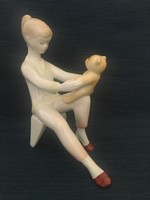 Aquincum kislány játékmackóval, ritka dekor, Káldor Aurél