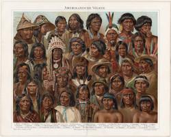 Amerikai népfajok, litográfia 1894, német nyelvű, eredeti, színes nyomat, Amerika, nép, indián