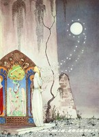 Szecessziós mesekönyv illusztráció reprint nyomat 1914 Nielsen, szőke lány hold kapu éden Ádám Éva