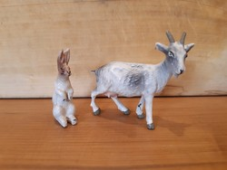 Régi játék figura, kecske és nyúl -Lineol- nagyon szép állapotban, fémvázra építve, háború előtti