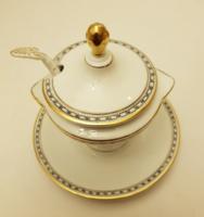 Különleges porcelán mártásos edény fedővel és hozzá tartozó kanállal. Gyűjtői darab.