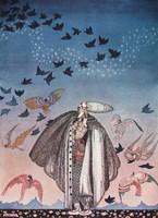 Szecessziós mesekönyv illusztráció reprint nyomat 1914 Nielsen katona köpeny sisak repülő madarak ég