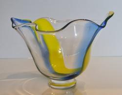 Orrefors kék-sárga kínáló