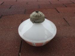 Régi konyhai tejüveg lámpabura fém véggel
