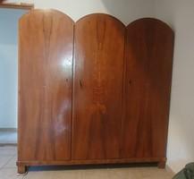Art Deco íves tetejű 3 ajtós intarziás Kozma Lajos szekrény