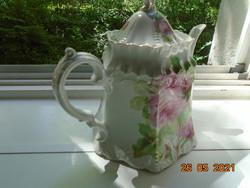 19.sz Szecessziós, dombormintás, rózsás tea kiöntő