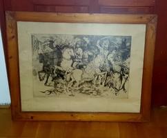 Nagyvázsonyi lovasjátékok, Pásztor Gábor, nagyméretű rézkarc üvegezett keretben
