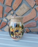 16.5  cm magas  kerámia  virágos szilke, köcsög, korsó, csupor