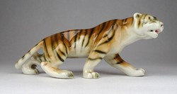 1E743 Jelzett Royal Dux porcelán tigris szobor 18.5 cm