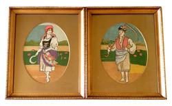 2 db régi retró tű gobelin tűgobelin fali kép falikép falusi pár fiú lány szép régi keretben