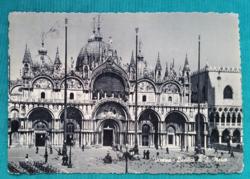 Olaszország,Velence,Szent Márk tér,fekete-fehér képeslap