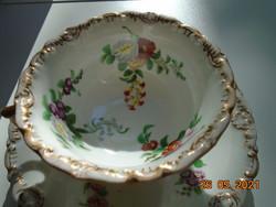 1846  Elbogen rátétes aranyozott dombormintákkal ,kézzel festett  virágmintákkal ,teás készlet